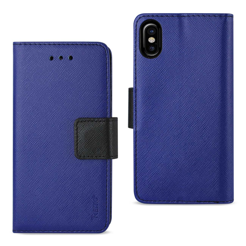 Reiko iPhone X/iPhone XS 3-In-1 Wallet Case In Navy | MaxStrata