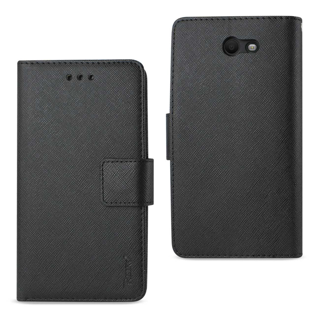 Reiko Samsung Galaxy J7 V (2017) 3-In-1 Wallet Case In Black | MaxStrata