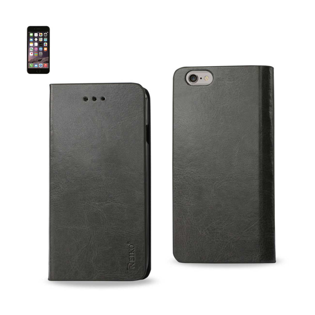 Reiko iPhone 6 Plus Flip Folio Case With Card Holder In Gray | MaxStrata