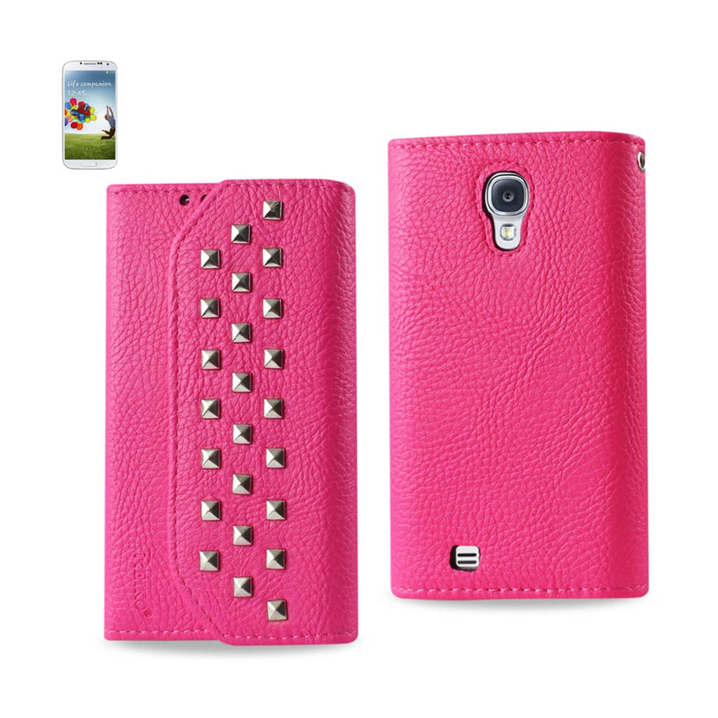 Reiko Samsung Galaxy S4 Studs Wallet Case In Hot Pink | MaxStrata