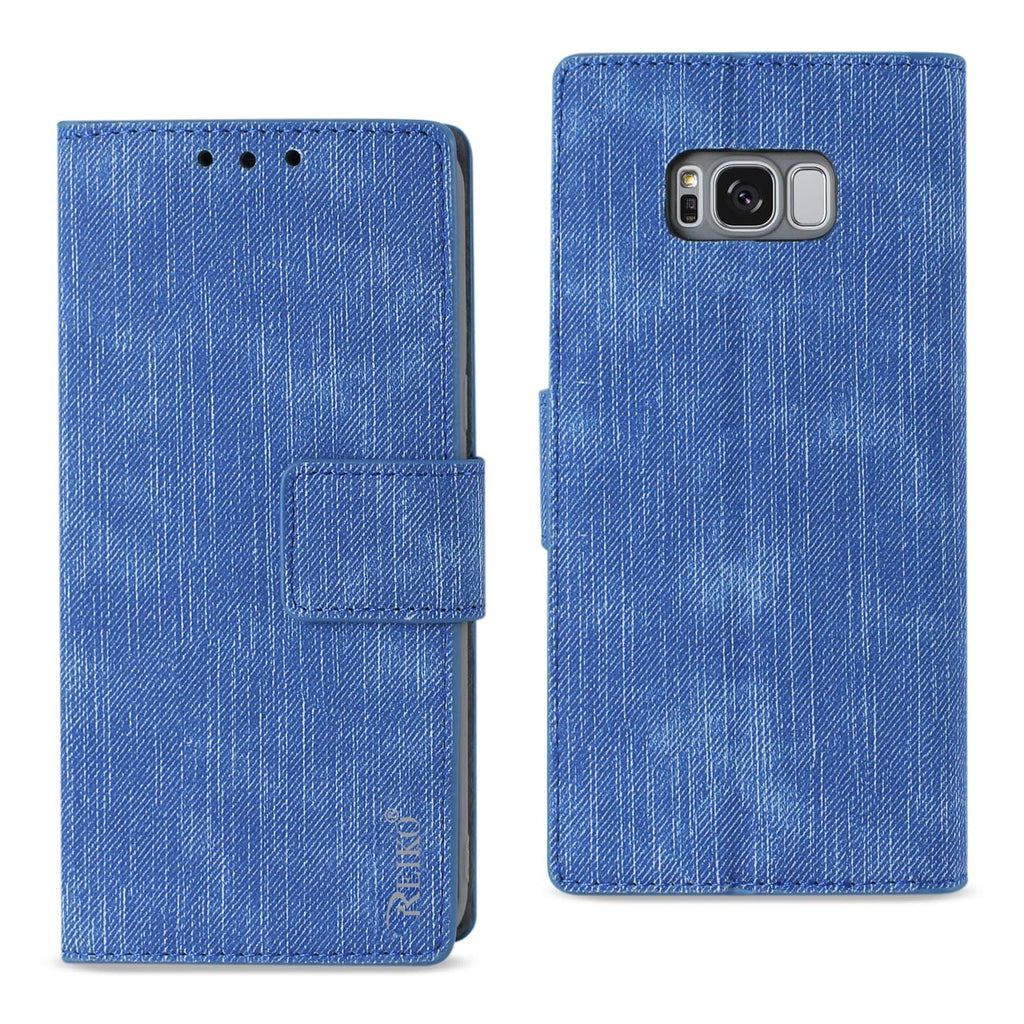 Reiko Samsung S8 Edge/ S8 Plus Denim Wallet Case With Gummy Inner Shell And Kickstand Function In Navy | MaxStrata