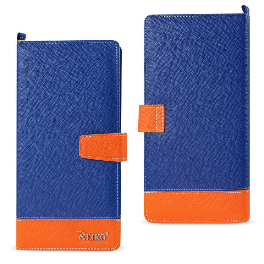 Reiko iPhone 6/ 6S Two Tone Super Wallet Case With Multiple Card Slots In Orange Navy | MaxStrata
