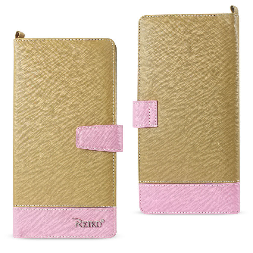 Reiko iPhone 6/ 6S Two Tone Super Wallet Case With Multiple Card Slots In Pink Gold | MaxStrata