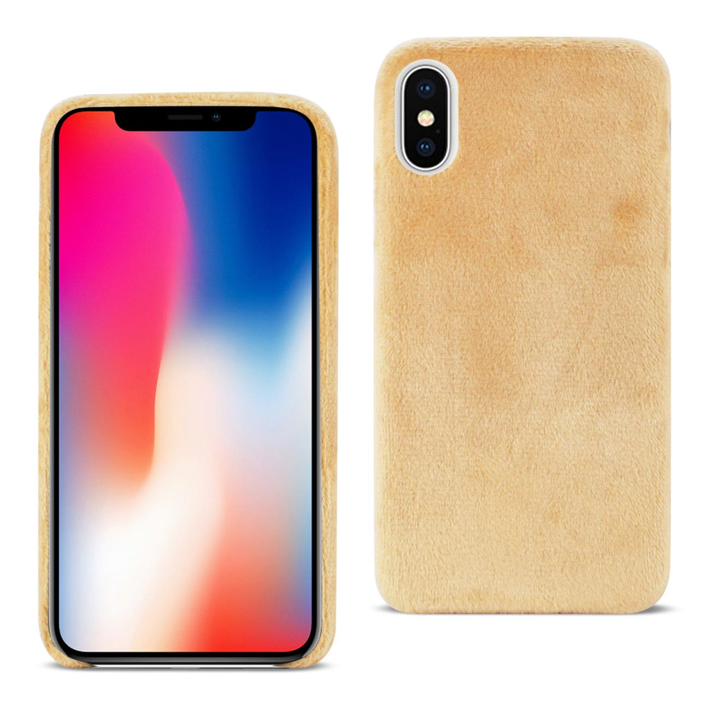 Reiko iPhone X/iPhone XS Fuzzy Fur Soft TPU Case In Camel | MaxStrata