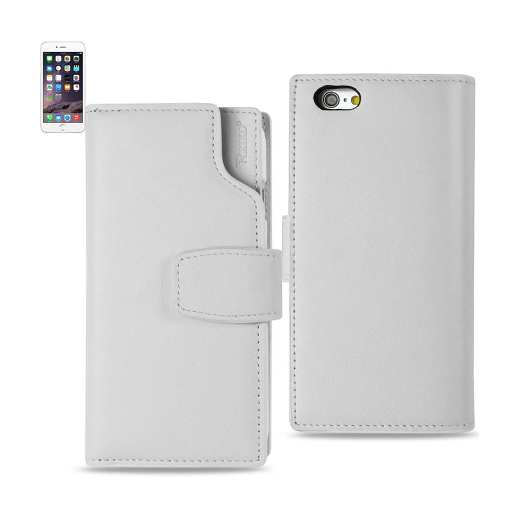 Reiko iPhone 6 Genuine Leather Wallet Case With Open Thumb Cut In Ivory | MaxStrata
