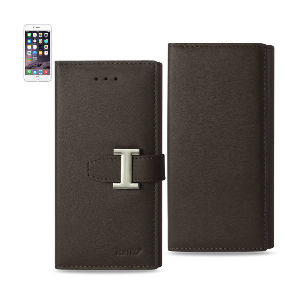 Reiko iPhone 6 Plus Genuine Leather RFID Wallet Case In Umber | MaxStrata