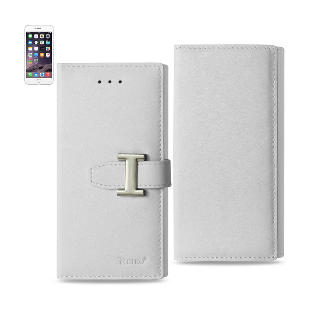Reiko iPhone 6 Genuine Leather RFID Wallet Case In Ivory | MaxStrata