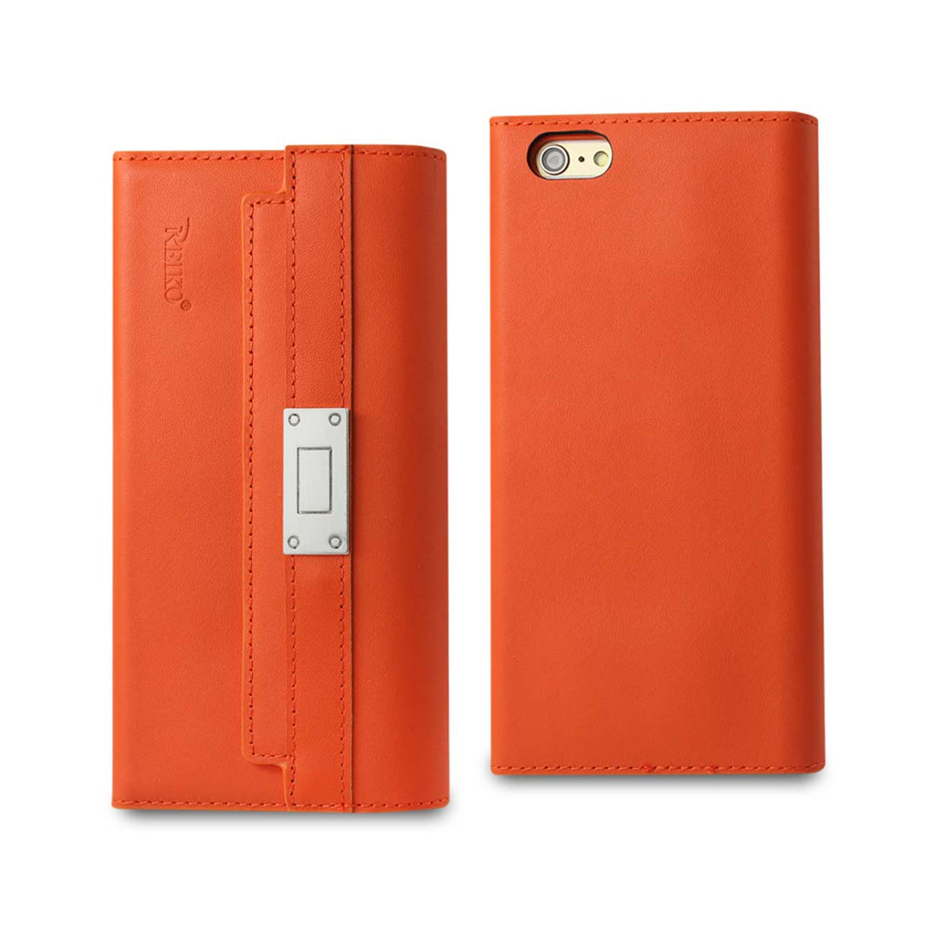 Reiko iPhone 6S Plus Genuine Leather RFID Wallet Case And Metal Buckle Belt In Tangerine | MaxStrata