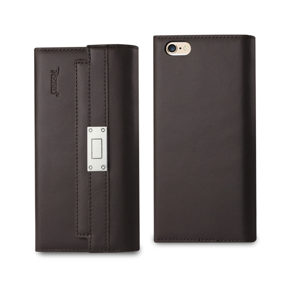 Reiko iPhone 6S Genuine Leather RFID Wallet Case And Metal Buckle Belt In Umber | MaxStrata