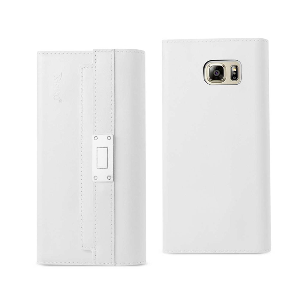 Reiko Samsung Galaxy Note 5 Genuine Leather RFID Wallet Case And Metal Buckle Belt In Ivory | MaxStrata