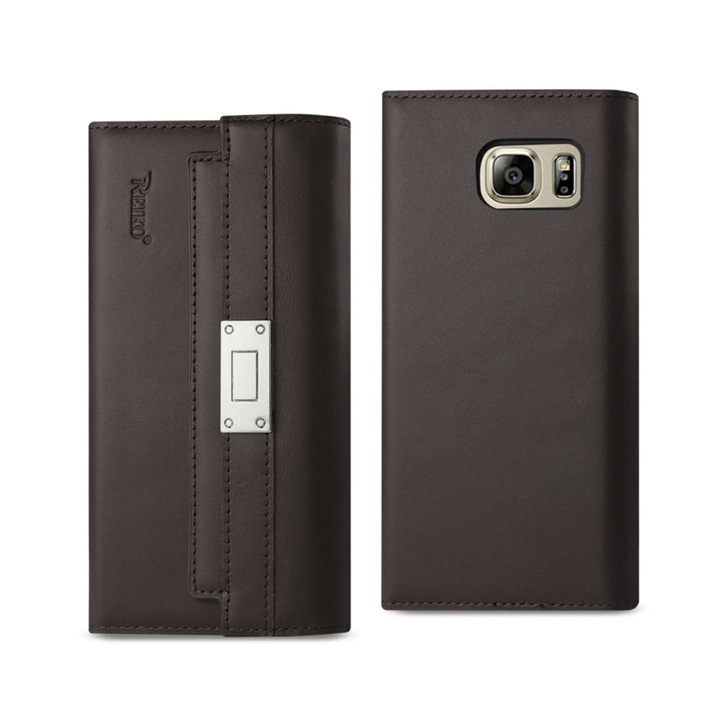Reiko Samsung Galaxy Note 5 Genuine Leather RFID Wallet Case And Metal Buckle Belt In Umber | MaxStrata