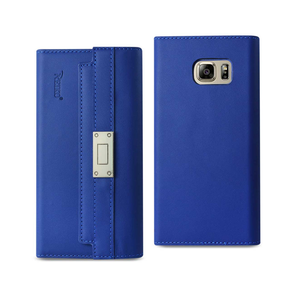 Reiko Samsung Galaxy Note 5 Genuine Leather RFID Wallet Case And Metal Buckle Belt In Ultramarine | MaxStrata