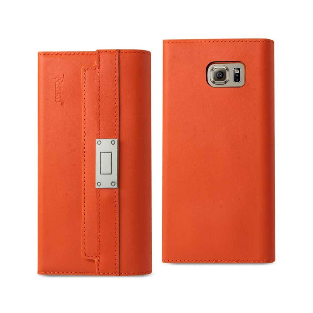 Reiko Samsung Galaxy S6 Genuine Leather RFID Wallet Case And Metal Buckle Belt In Tangerine | MaxStrata
