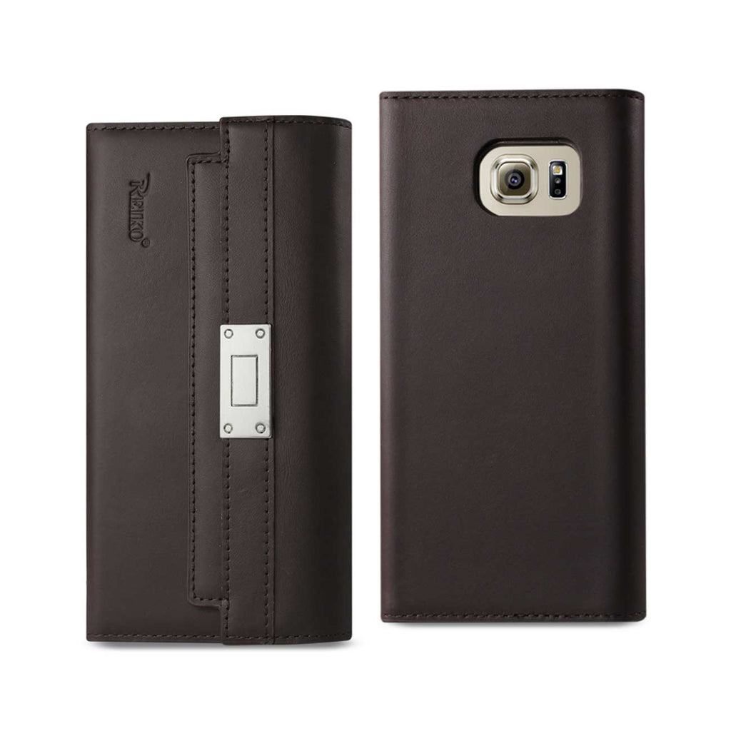 Reiko Samsung Galaxy S6 Genuine Leather RFID Wallet Case And Metal Buckle Belt In Umber | MaxStrata