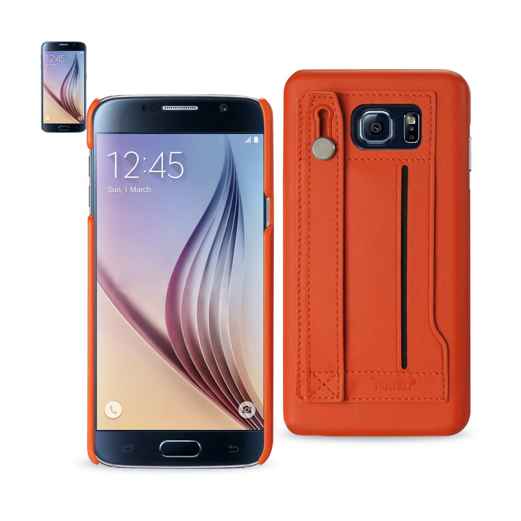 Reiko Samsung Galaxy S6 Genuine Leather Hand Strap Case In Tangerine | MaxStrata