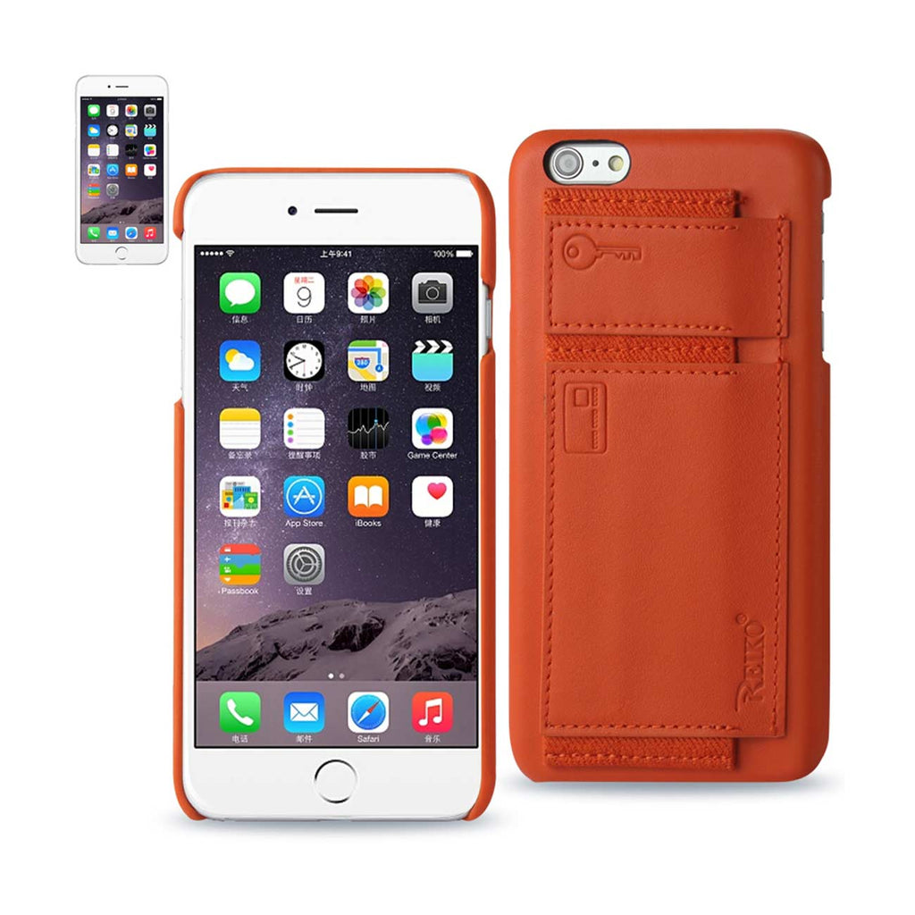 Reiko iPhone 6 RFID Genuine Leather Case Protection And Key Holder In Tangerine | MaxStrata