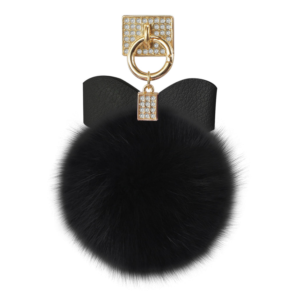 Reiko Phone Holder/ Finger Loop Grip With Rhinestone Soft Puffy Fur Ball In Black | MaxStrata