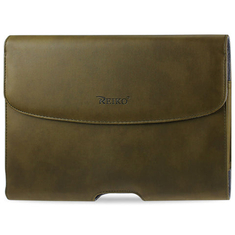 Reiko Smooth Horizontal Leather Pouch In Army Green | MaxStrata
