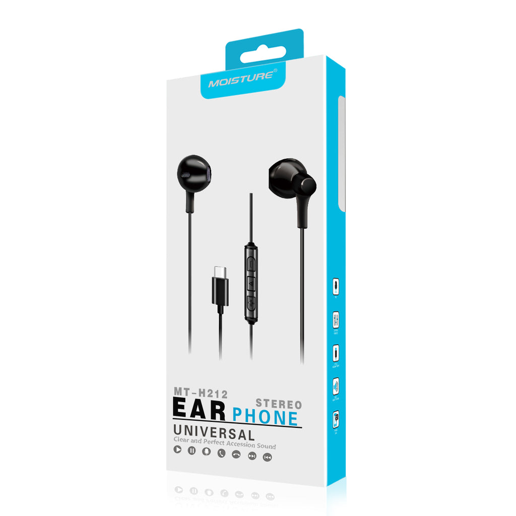 Reiko Moisture Mt-H212 Earphones For Type C In Black | MaxStrata