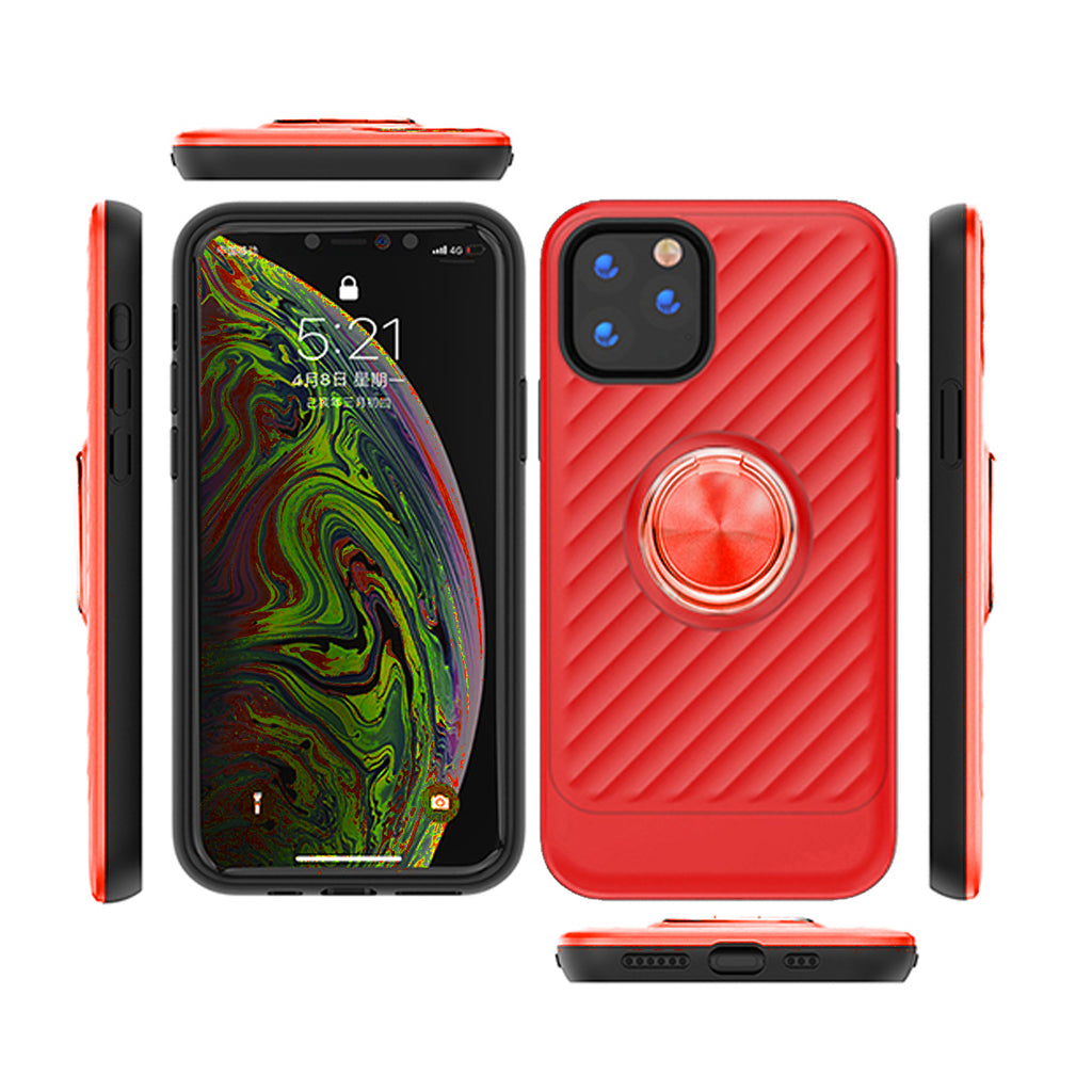 Reiko Apple iPhone 11 Pro Case With Ring Holder In Red | MaxStrata