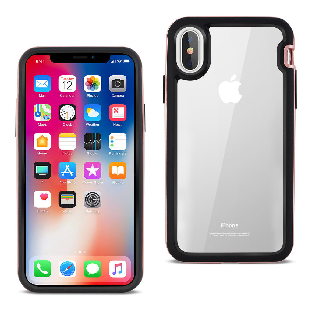Reiko iPhone X/iPhone XS Hard Transparent Plastic TPU Case In Clear Rose Gold | MaxStrata