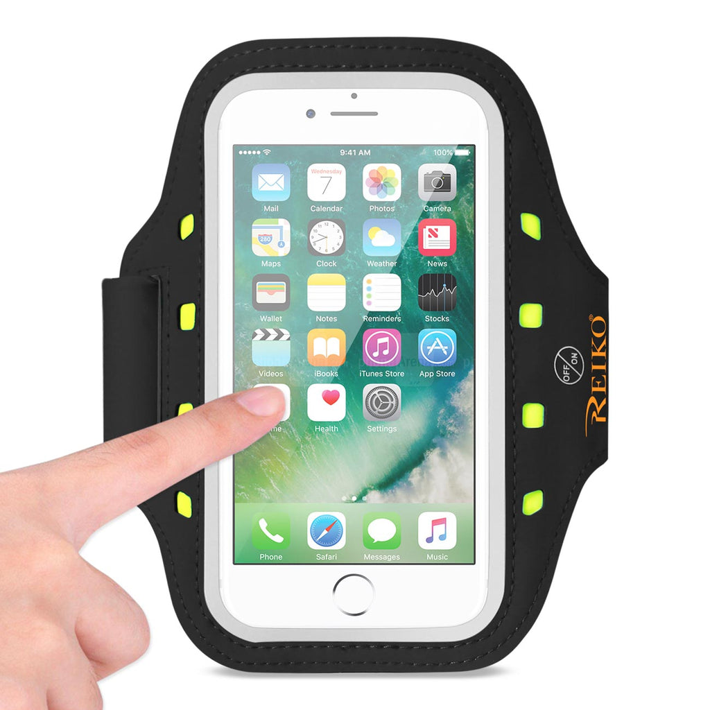 Reiko Running Sports Armband For iPhone 7/ 6/ 6S Or 5 Inches Device With LED In Black (5X5 Inches) | MaxStrata