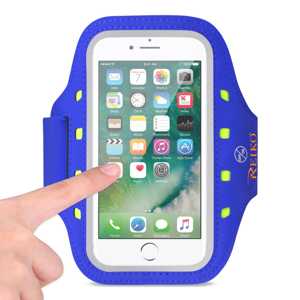 Reiko Running Sports Armband For iPhone 7/ 6/ 6S Or 5 Inches Device With LED In Blue (5X5 Inches) | MaxStrata