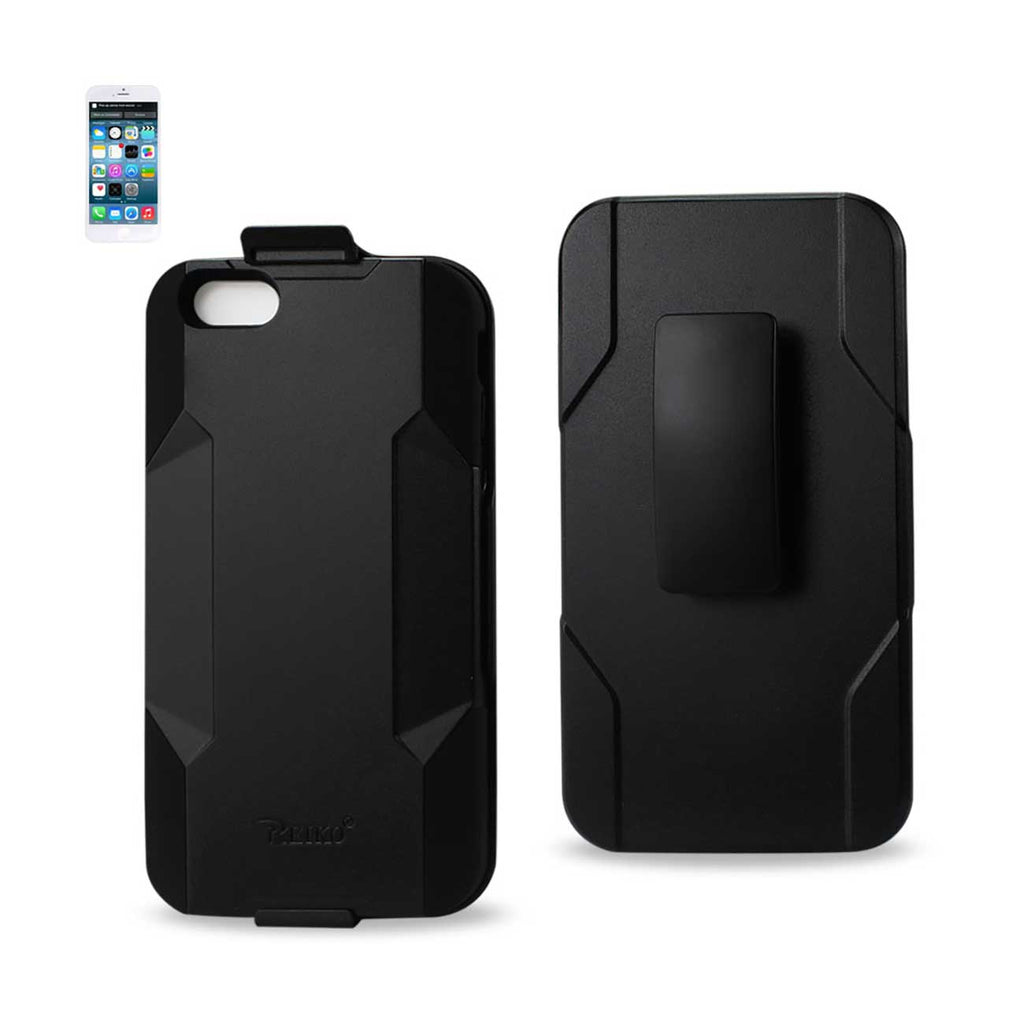 Reiko iPhone 6 Plus 3-In-1 Hybrid Heavy Duty Holster Combo Case In Black | MaxStrata