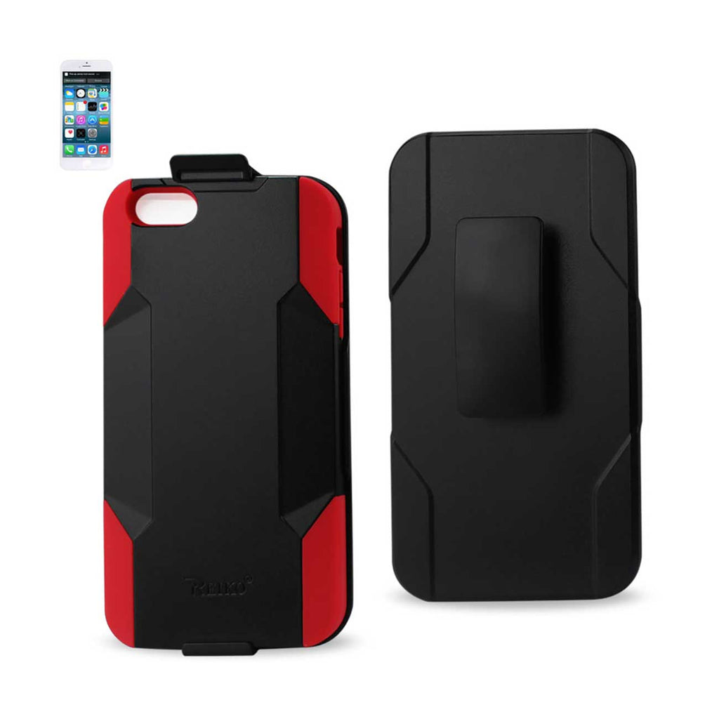 Reiko iPhone 6 Plus 3-In-1 Hybrid Heavy Duty Holster Combo Case In Red Black | MaxStrata