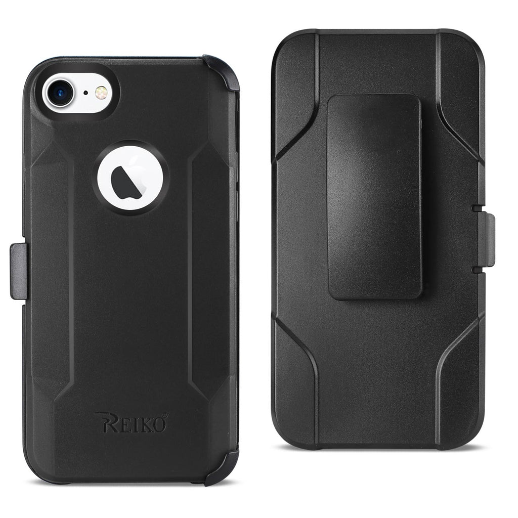 Reiko iPhone 7/8/Se2 3-In-1 Hybrid Heavy Duty Holster Combo Case In Black | MaxStrata