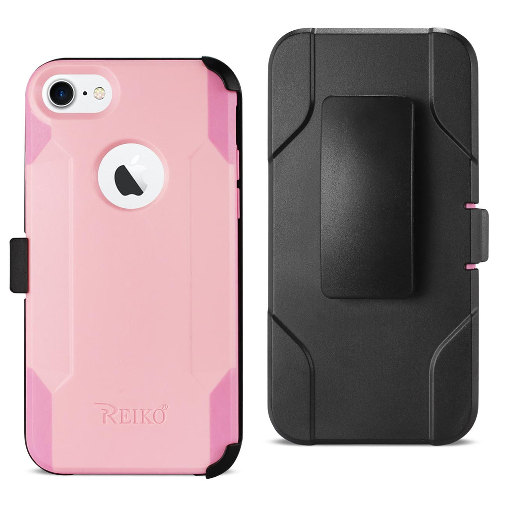 Reiko iPhone 7/8/Se2 3-In-1 Hybrid Heavy Duty Holster Combo Case In Light Pink | MaxStrata