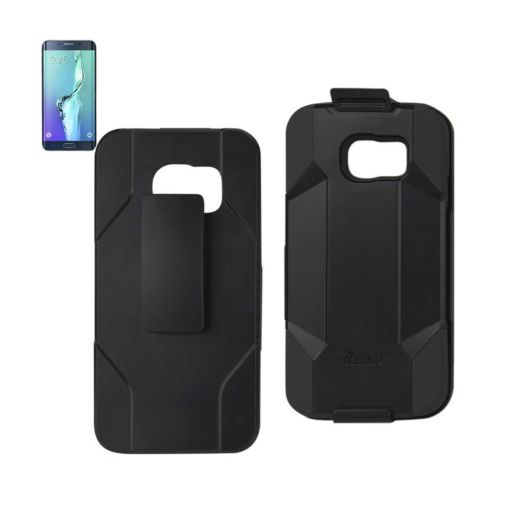 Reiko Samsung Galaxy S6 Edge Plus 3-In-1 Hybrid Heavy Duty Holster Combo Case In Black | MaxStrata