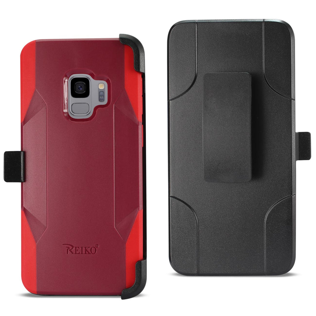 Reiko Samsung Galaxy S9 3-In-1 Hybrid Heavy Duty Holster Combo Case In Burgundy | MaxStrata