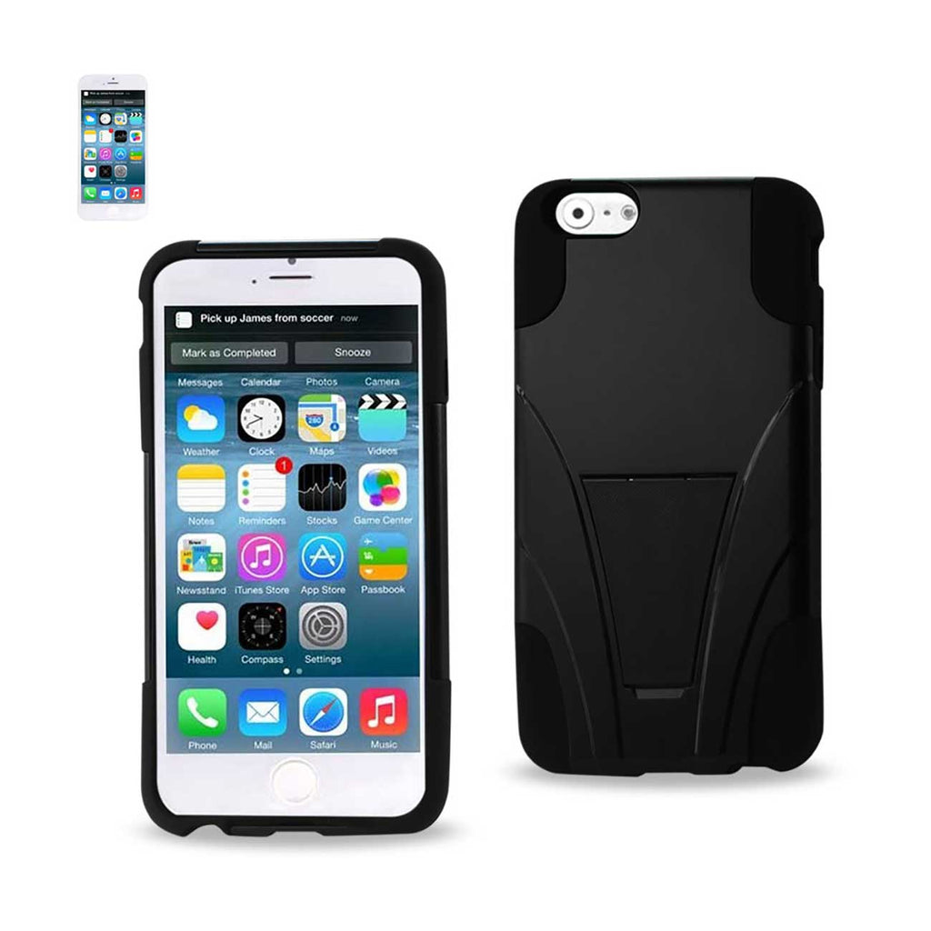 Reiko iPhone 6S/ 6 Plus Hybrid Heavy Duty Case With Kickstand In Black | MaxStrata