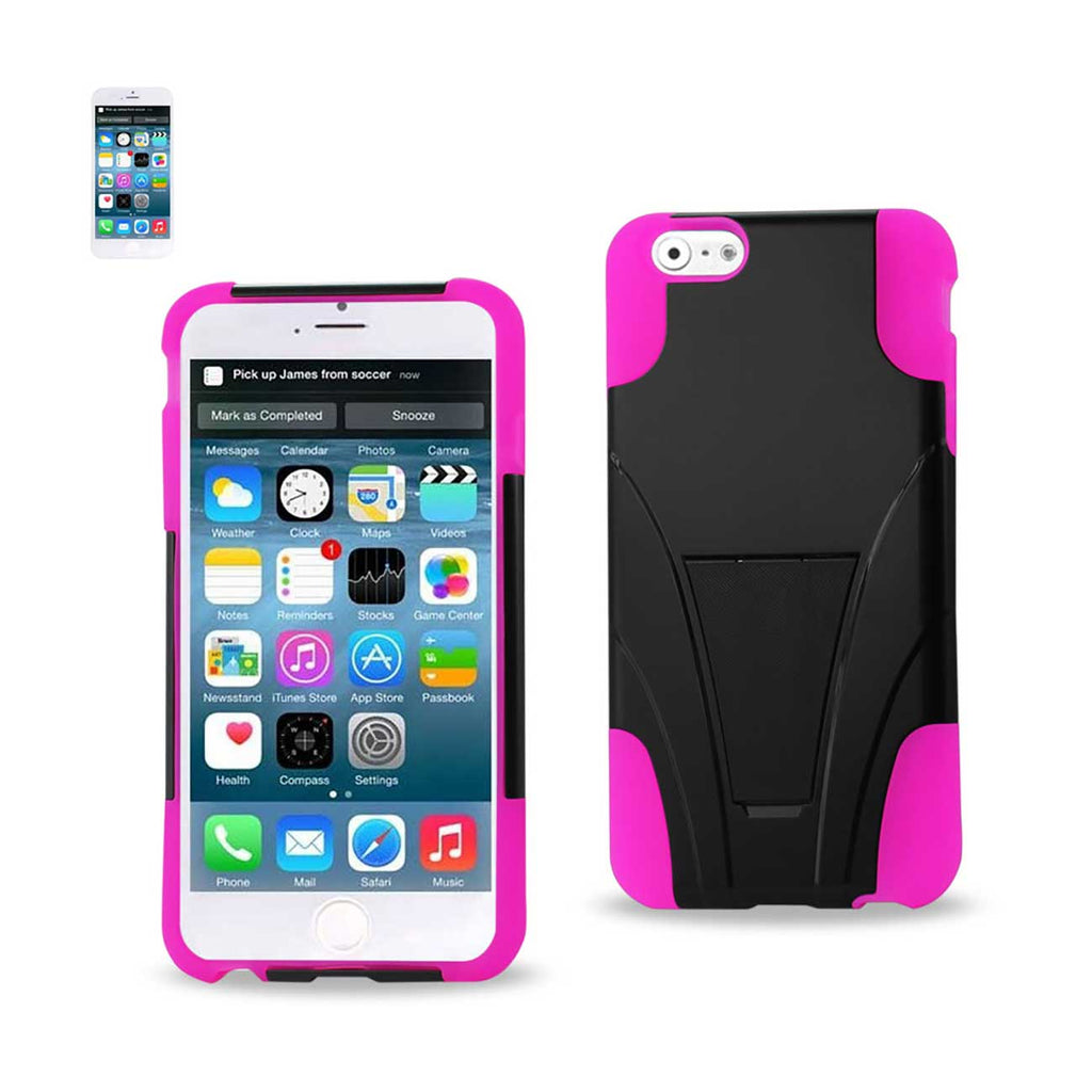 Reiko iPhone 6S/ 6 Plus Hybrid Heavy Duty Case With Kickstand In Hot Pink Black | MaxStrata
