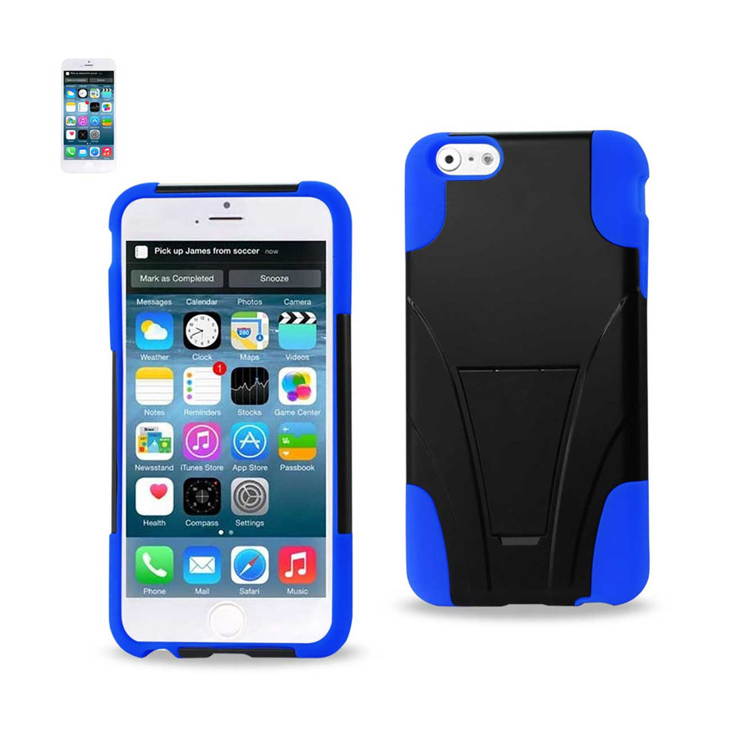 Reiko iPhone 6S/ 6 Plus Hybrid Heavy Duty Case With Kickstand In Navy Black | MaxStrata