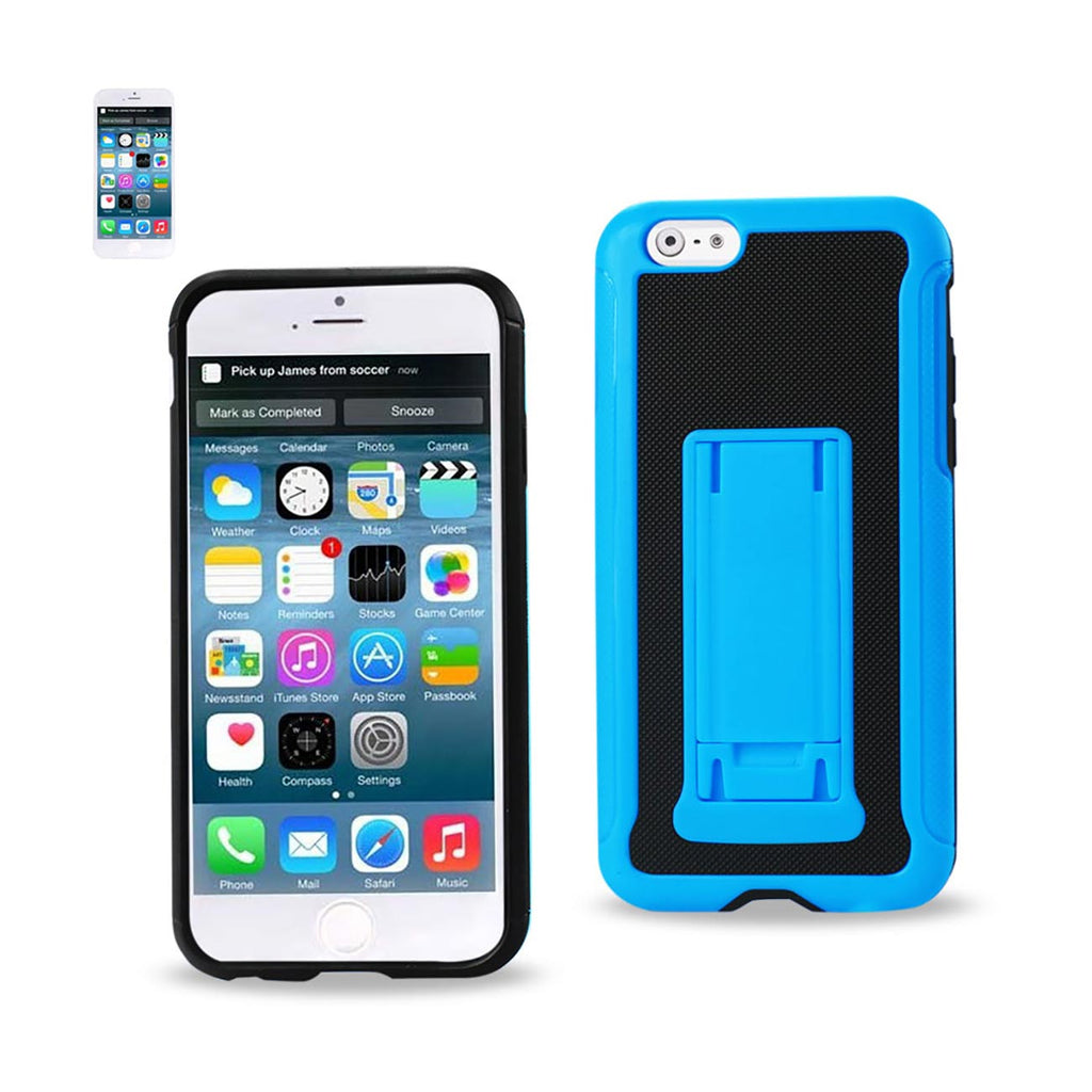 Reiko iPhone 6 Plus Hybrid Heavy Duty Case With Vertical Kickstand In Black Navy | MaxStrata