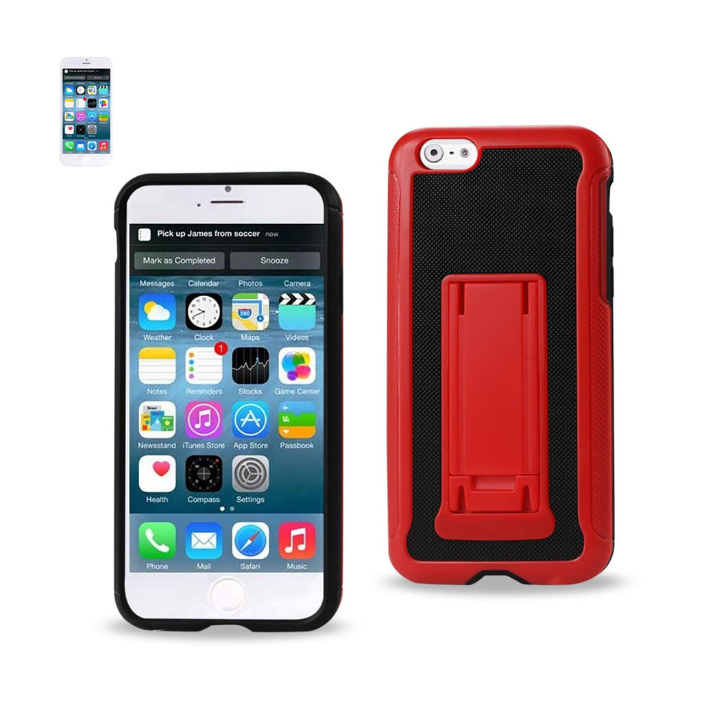 Reiko iPhone 6 Plus Hybrid Heavy Duty Case With Vertical Kickstand In Black Red | MaxStrata