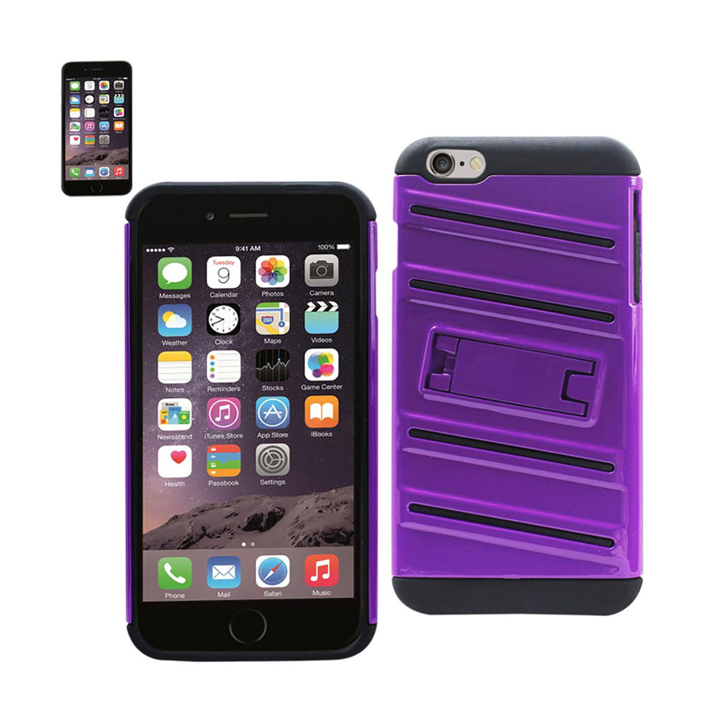 Reiko iPhone 6S Plus/ 6 Plus Hybrid Fishbone Case With Kickstand In Black Purple | MaxStrata