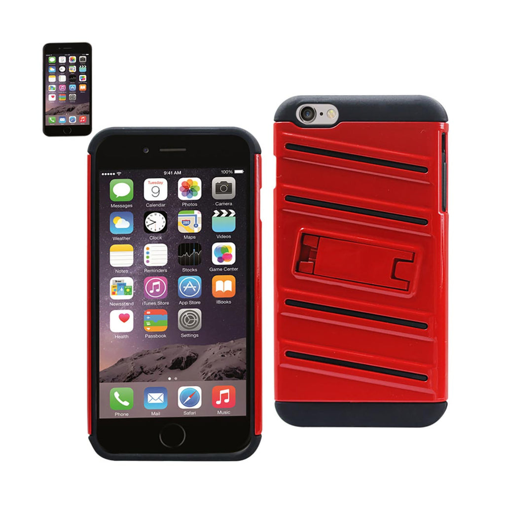 Reiko iPhone 6S Plus/ 6 Plus Hybrid Fishbone Case With Kickstand In Black Red | MaxStrata