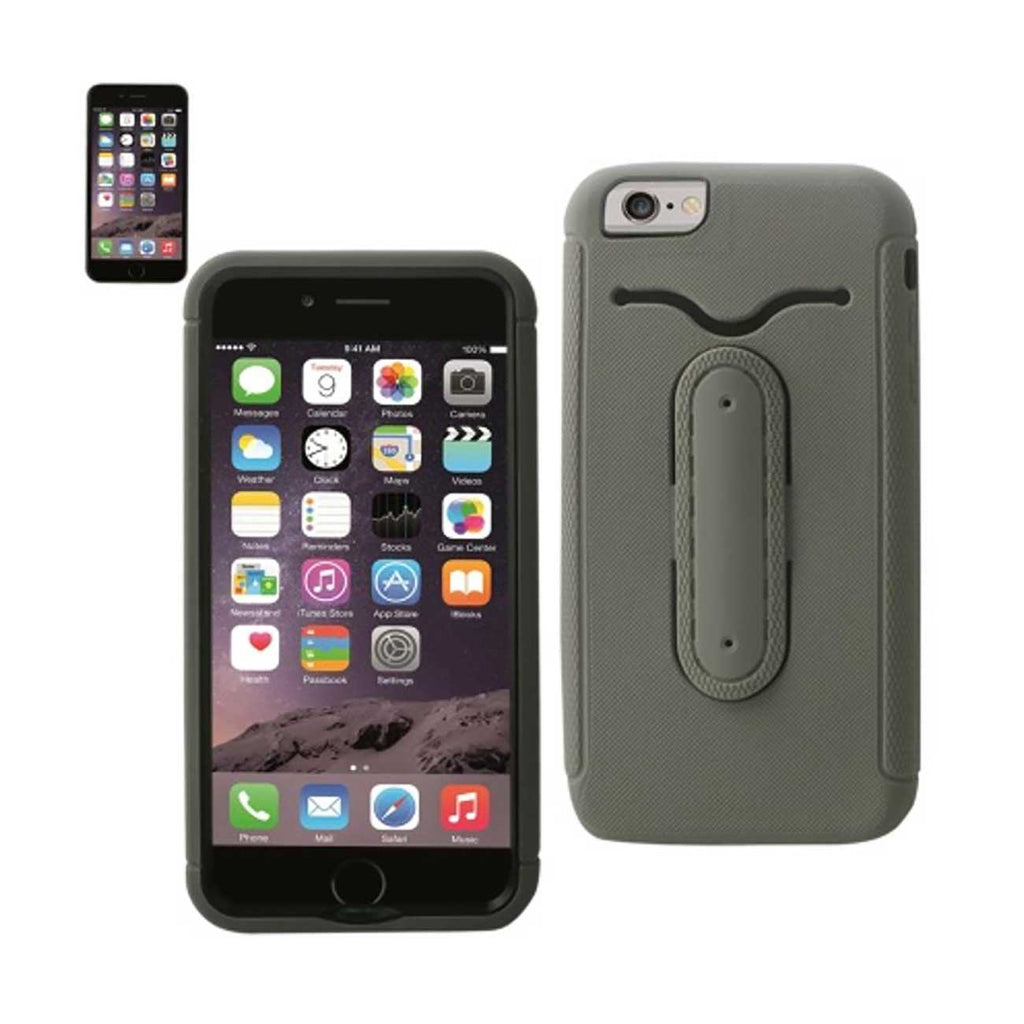 Reiko iPhone 6S Plus/ 6 Plus Hybrid Heavy Duty Case With Bending Kickstand In Gray | MaxStrata