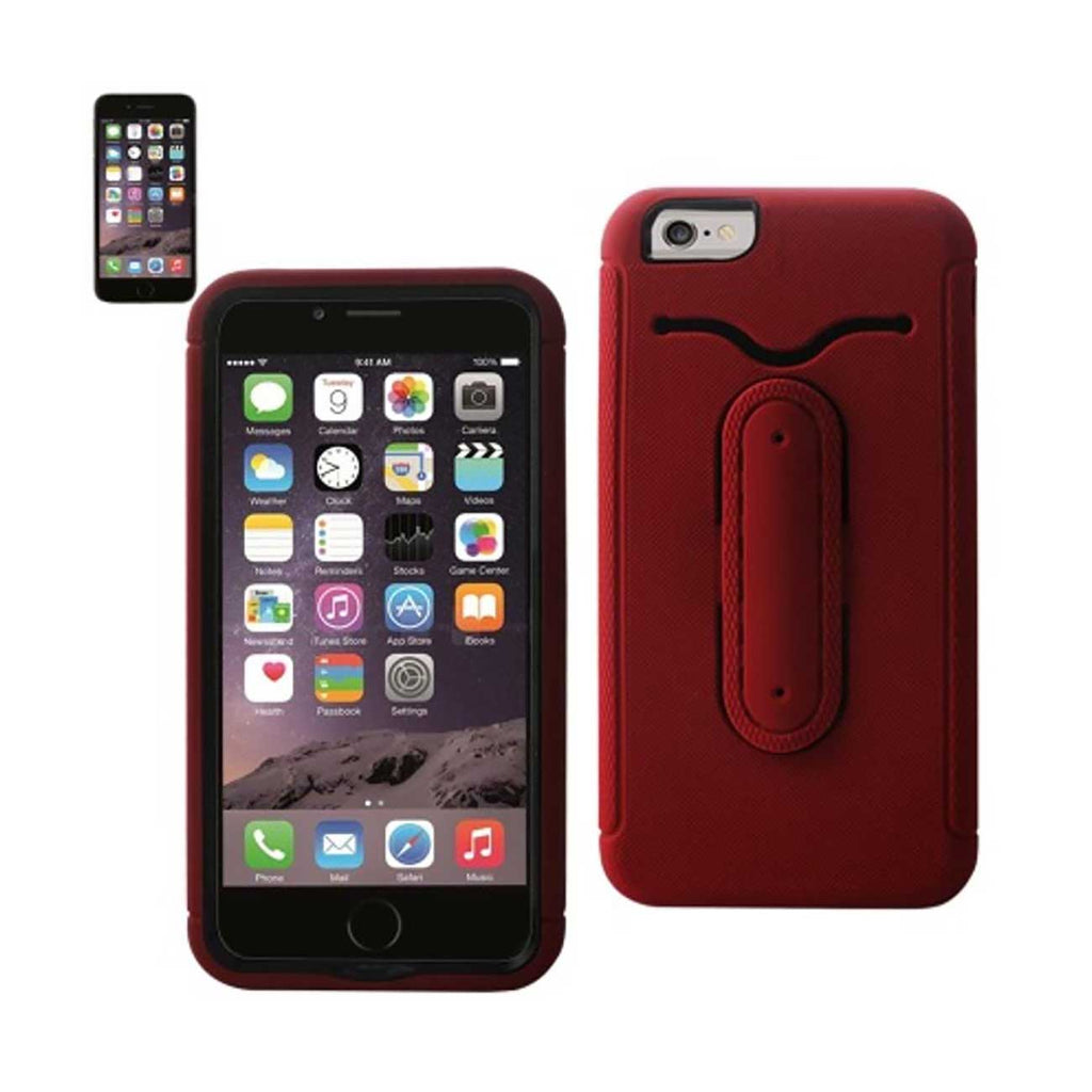 Reiko iPhone 6S Plus/ 6 Plus Hybrid Heavy Duty Case With Bending Kickstand In Red | MaxStrata