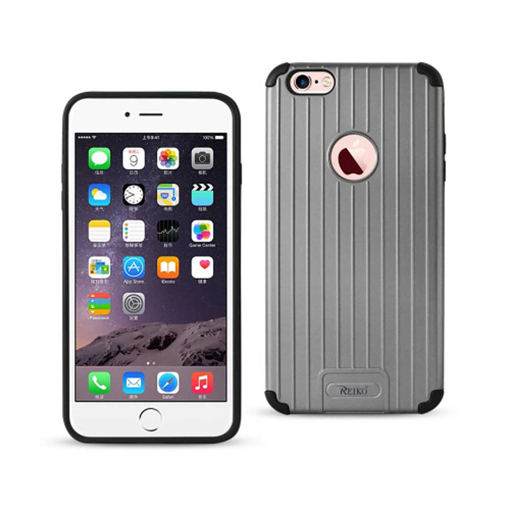 Reiko iPhone 6S Plus/ 6 Plus Rugged Metal Texture Hybrid Case With Ridged Back In Black Gray | MaxStrata