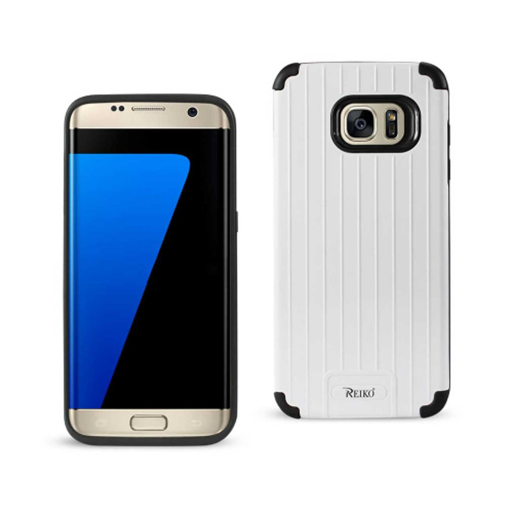 Reiko Samsung Galaxy S7 Edge Rugged Metal Texture Hybrid Case With Ridged Back In Black White | MaxStrata