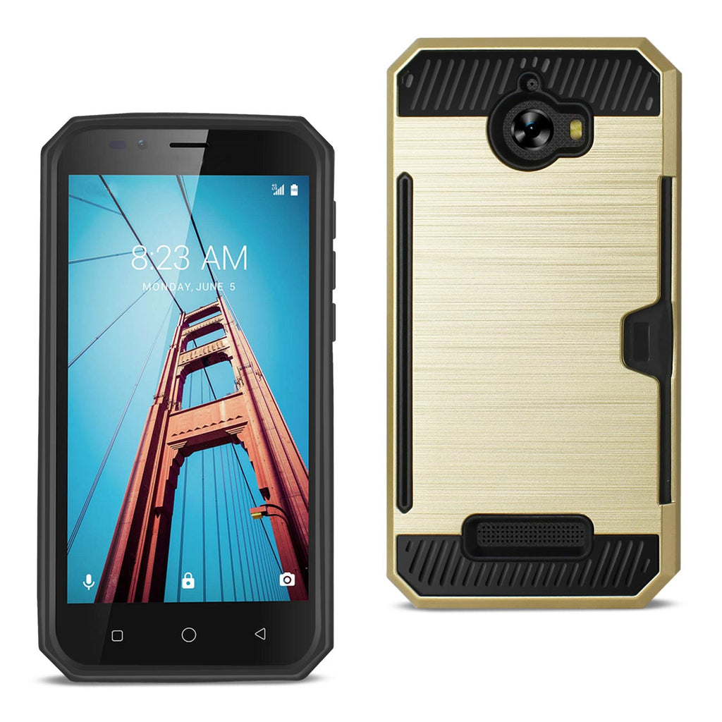 Reiko Coolpad Defiant Slim Armor Hybrid Case With Card Holder In Gold | MaxStrata