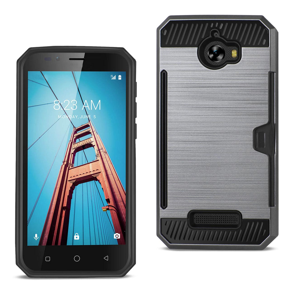 Reiko Coolpad Defiant Slim Armor Hybrid Case With Card Holder In Gray | MaxStrata