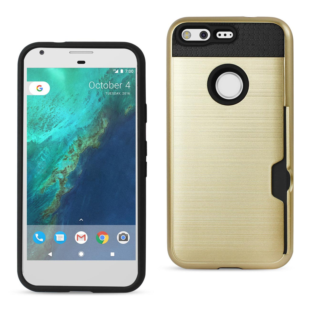 Reiko Google Pixel Slim Armor Hybrid Case With Card Holder In Gold | MaxStrata