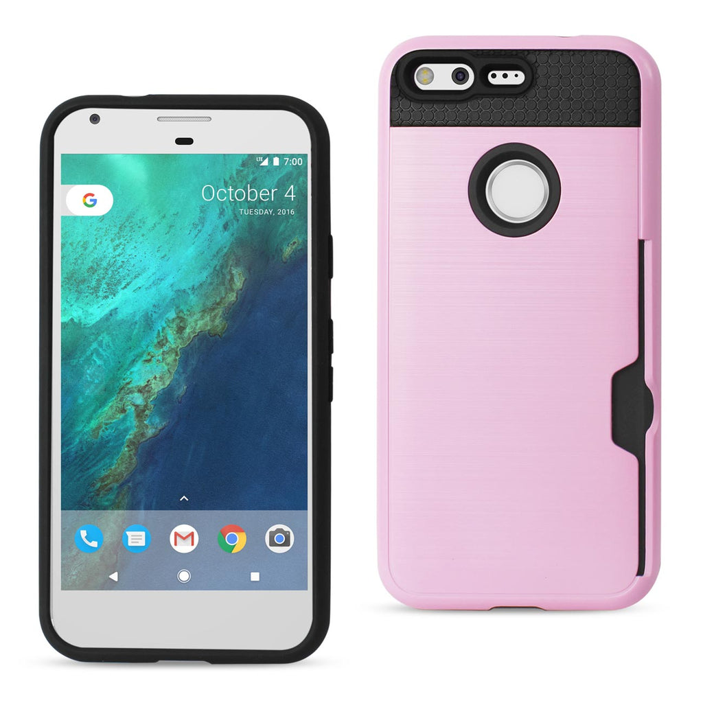 Reiko Google Pixel Slim Armor Hybrid Case With Card Holder In Rose Gold | MaxStrata