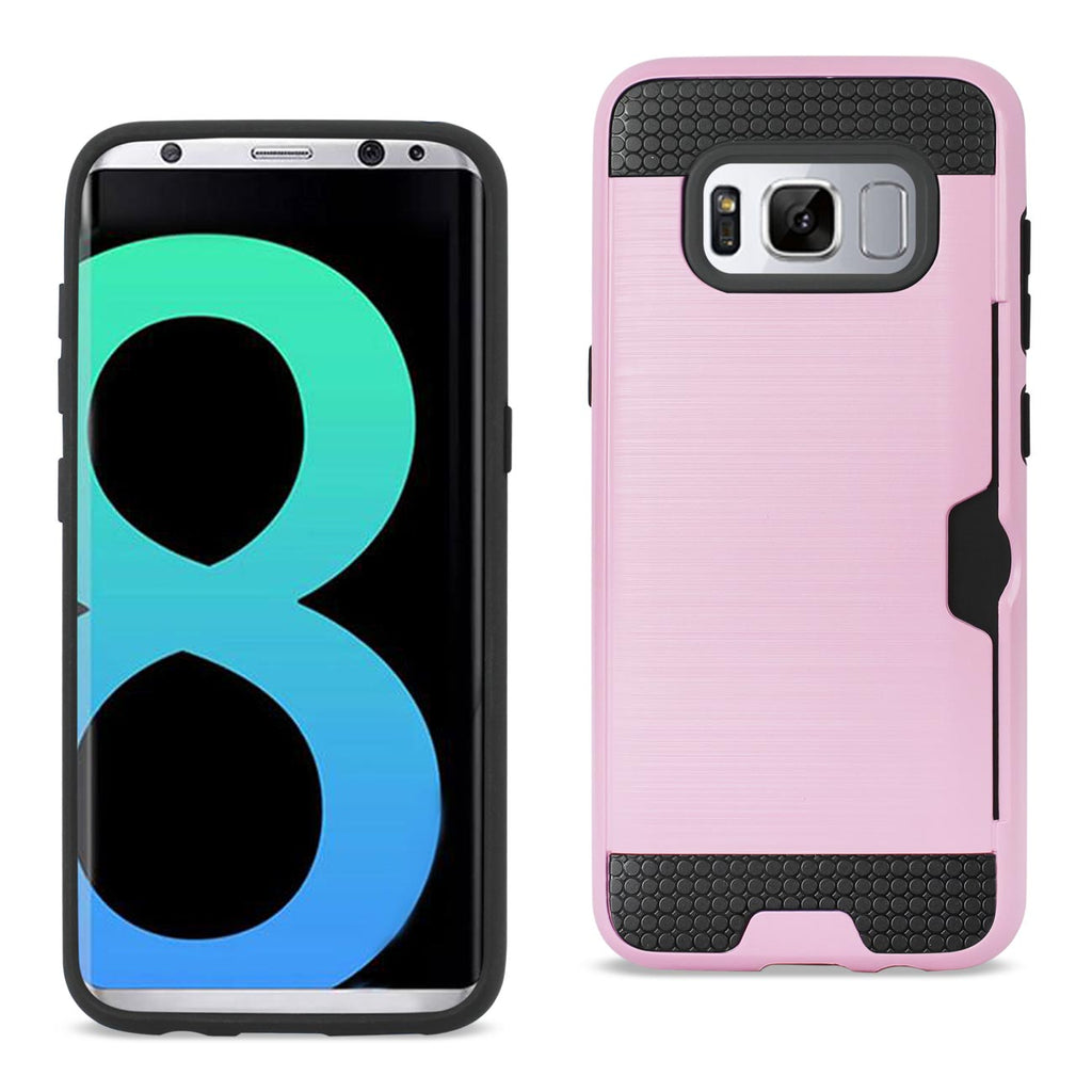 Reiko Samsung Galaxy S8 Edge/ S8 Plus Slim Armor Hybrid Case With Card Holder In Pink | MaxStrata