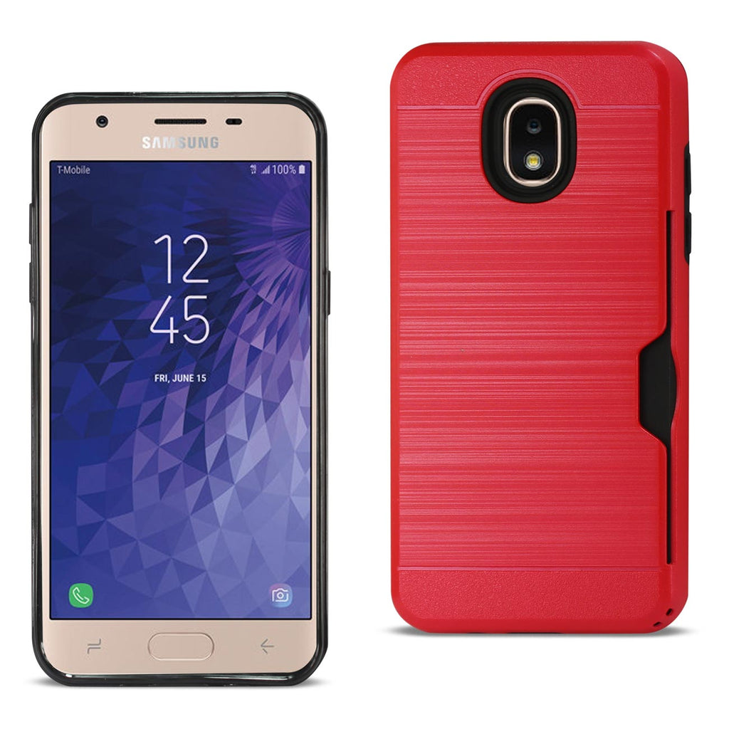 Reiko Samsung J3(2018) Slim Armor Hybrid Case With Card Holder In Red | MaxStrata